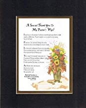 Personalized Touching and Heartfelt Poem for Thank-You - A Special Thank You to My Pastor's Wife Poem on 11 x 14 inches Double Beveled Matting (Black on Gold)