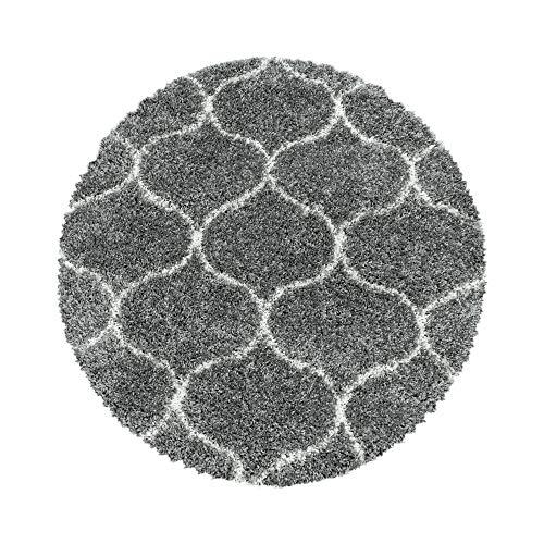 Wohnzimmerteppich Hochflor Teppich Design Kachel Tile Jacquard Form Rund, Farbe:Grau, Grösse:200 cm Rund