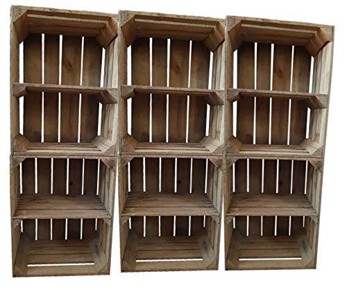 Teramico Fioriera XXL in legno massiccio con fondo orizzontale o naturale 40 x 30 x 50 cm, cassette in legno per vino, frutta, shabby chic, vintage, naturale, 6er