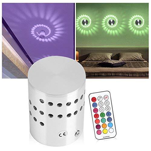 LED Lámpara de Pared, lámpara espiral 3W regulable, instalación de control remoto Mini luz de techo, lámpara de pared espiral para la sala de juegos Kids Party Bars Hotel Cafe