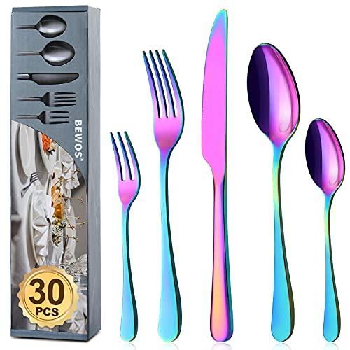 Juego de cubiertos BEWOS Rainbow para 6 personas, 30 piezas cubiertos de colores que incluye cuchillo, tenedor, cuchara, cubiertos de acero inoxidable pulido a espejo, apto para lavavajillas