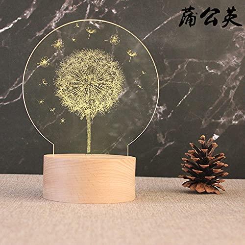 Tatapai Luz de noche 3D Luz de noche Base de madera Lámpara de mesa Decorativa Light-Plug_Dandelion