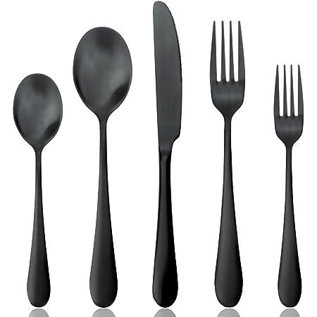 AOOSY カトラリー 5点セット ブラック 重厚 ストーン感 1人用 高品質ステンレス鋼製 一体ナイフ 一体スプーン 一体フォーク コーヒースプーン ケーキフォーク 大人用 ゴシック食器 黒仕上げ
