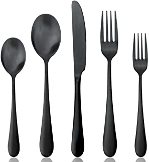 AOOSY Juego de cubiertos negros mate, juego de cubiertos Juego de cubiertos de acero inoxidable 18/10 18/10, sólido y pesado Juego de cuchillos para cena Tenedores Cucharas (4 juegos)