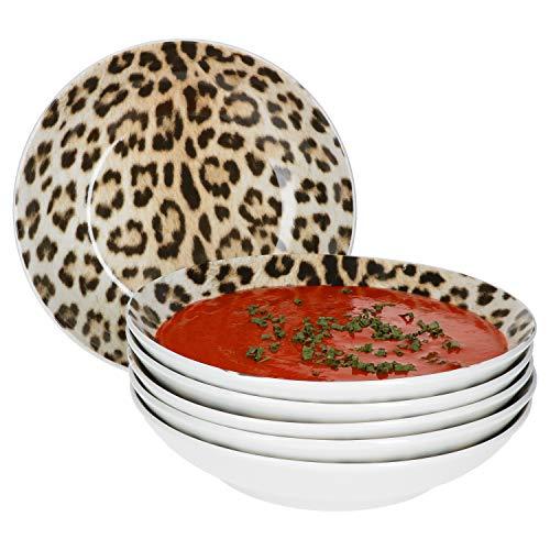 MamboCat Leopard Lampart - Set di 6 piatti da zuppa, 6 persone, con motivo leopardato, moderno e profondo, design etnico alla moda, 6 pezzi