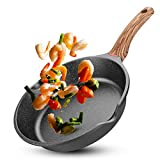Ms.life Nonstick Induction Granite Stone Frying Pan, Skillets with Heat-Resistant Ergonomic Protection Handle, 8/9.5/10/11/12 inch (9.5 inch)