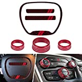 Sunluway for Dodge Challenger Charger Durango RT & Scat Pack 2015-2020 Steering Wheel Emblem Kit and Air Conditioner Switch CD Button Knob Cover Interior Accessories (Not Fit SRT Version)