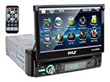 Pyle Single DIN Head Unit Receiver - In-Dash Car Stereo with 7 Multi-Color Touchscreen Display - Audio Video System with Bluetooth for Wireless Music Streaming & Hands-free Calling - PLTS78DUB, BLACK