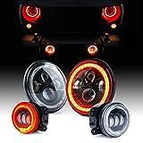 Xprite 7' 90W CREE LED Headlights & 4' 60W Fog Lights Combo w/Red Halo for 2007-2018 Jeep Wrangler JK