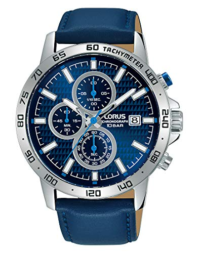 Lorus Sport Herren-Uhr Chronograph Edelstahl mit Lederband RM307GX9