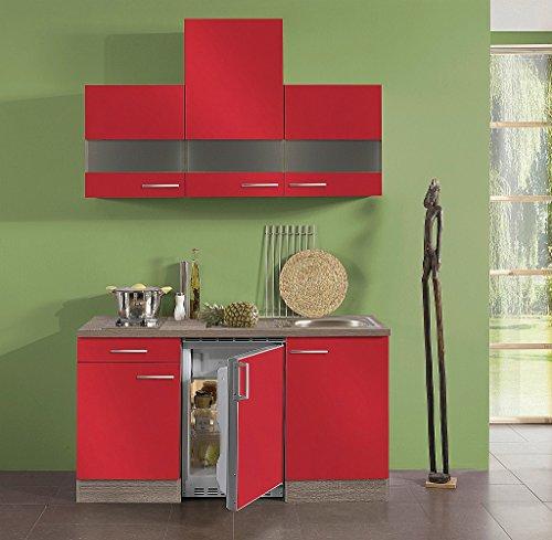 idealShopping Singelküche mit Elektrogeräten Imola in rot 150 cm breit