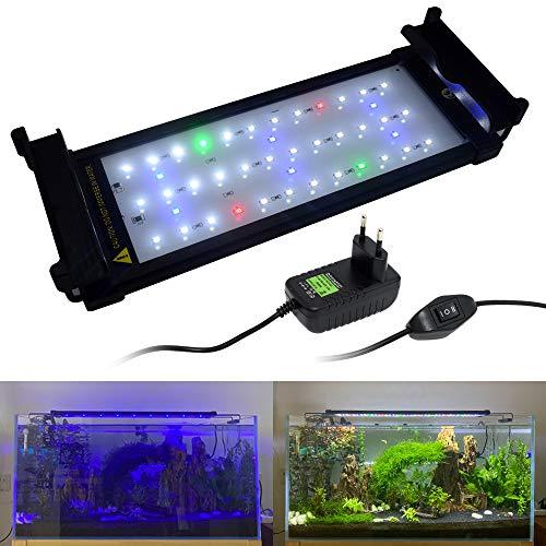 VARMHUS Aquarienleuchte, Vollspektrum-Aquarienbeleuchtung mit ausziehbaren Halterungen, blauen, weißen, grünen und roten LEDs Für Aquarien mit Einer Länge von 30-45 cm (9 W)