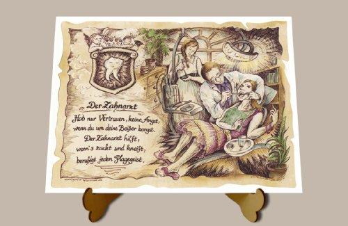 Die Staffelei Geschenk Zahnarzt neu Dentist Zeichnung Color 20 x 15 cm mit Aufsteller