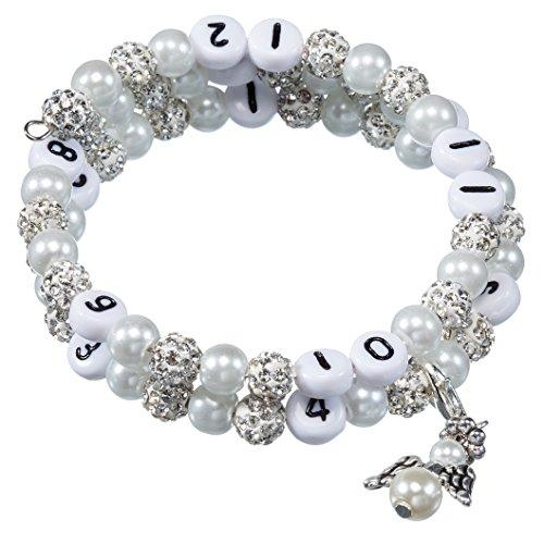 Stillarmband White - Praktisch für stillende Mütter sowie ein ideales Geschenk zur Geburt! (Strass-/Glaswachsperlen)