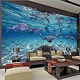 Svsnm Unterwasser 3D World Blue Ocean Fische Fototapete Cartoon Wandbild Kinder Schlafzimmer...