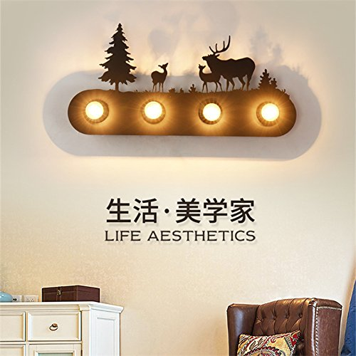 Retro vent cheval sauvage forêt industrielle lampe murale wall lamp bar restaurant créatif Chambre lit double fer Deer wall lamp, steppe black horse