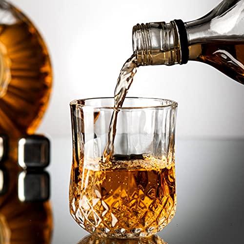 QIN Bicchiere da Whisky, Bicchiere da Whisky in Cristallo, Bicchiere Vintage da 220 Ml, 4 Set di Bicchieri da Whisky, Regalo di Compleanno da Uomo