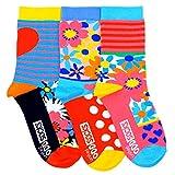 Oddsocks MIA 3er Set bunte Socken,Blumen, Punkte, Streifen Gr.37-42