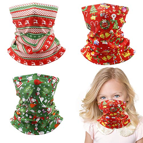 Kids Face Mask Facemask Reusable, Neck Gaiter Scarf Cute Cotton Girl Boy Child Toddler Comfortable Gator Youth Christmas Size Washable Dinosaur Unicorn Covering Dust Cold Weather Ski Funny Cloth