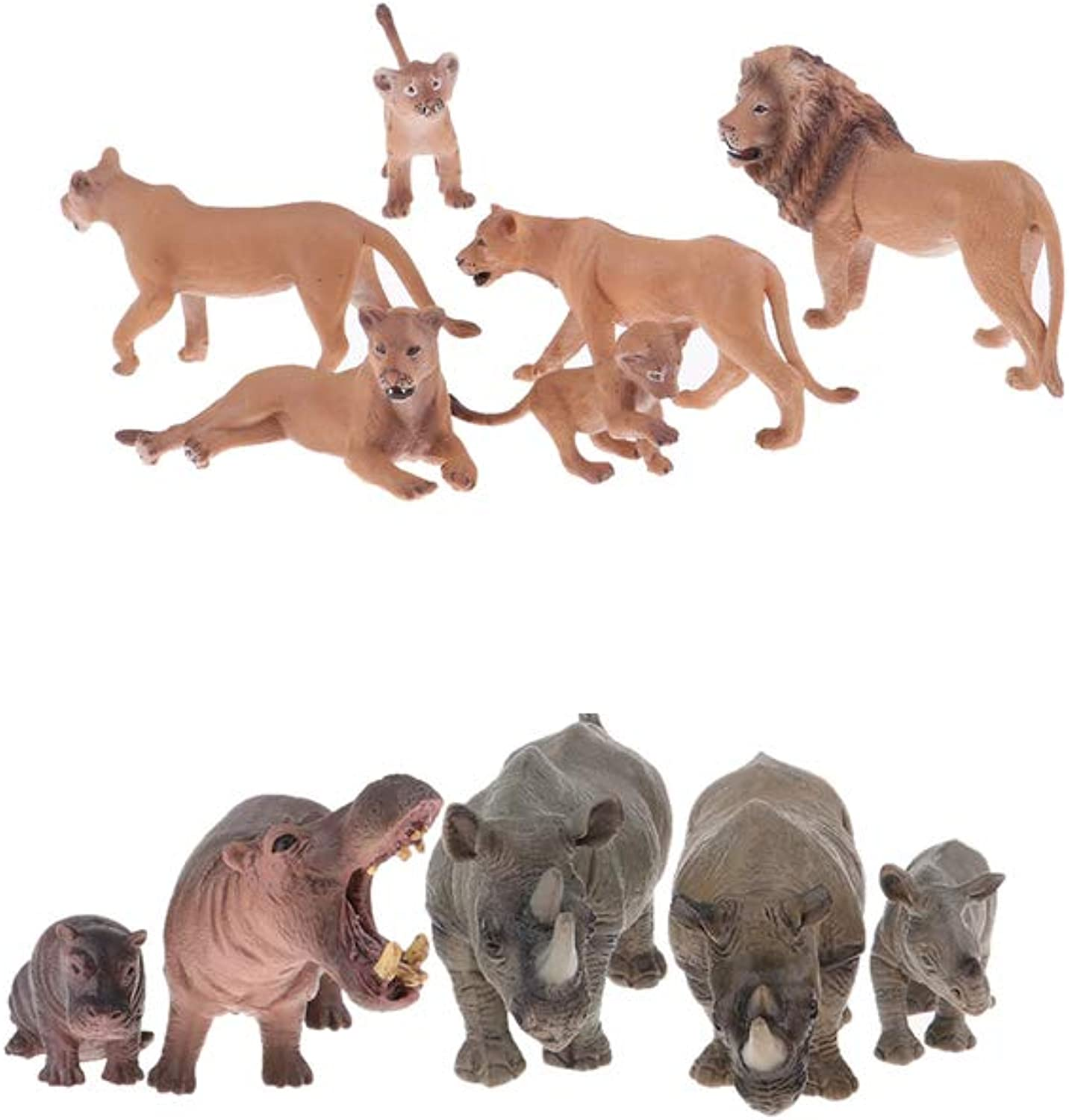 Baoblaze 6X Solid Lion Model Animals Figures Realistic Large Wild Lion Animal Toys + 5X Rhinoceros Hippo Set Figurines Hand Painting