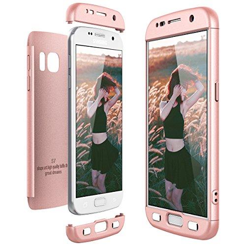 CE-Link für Samsung Galaxy S7 Hülle Hardcase 3 in 1 Handyhülle 360 Grad Full Body Schutz Schutzhülle Anti-Kratzer Bumper - Rosegold