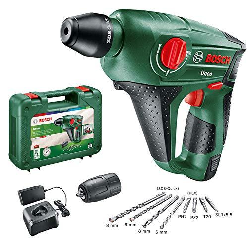 Bosch Martillo perforador a batería Uneo (12 V, 1 batería, cargador, Portabrocas adicional para brocas cilíndricas, Power for all, Sistema SDS, Cargador, 4 puntas, Maletín, 2,5 Ah)