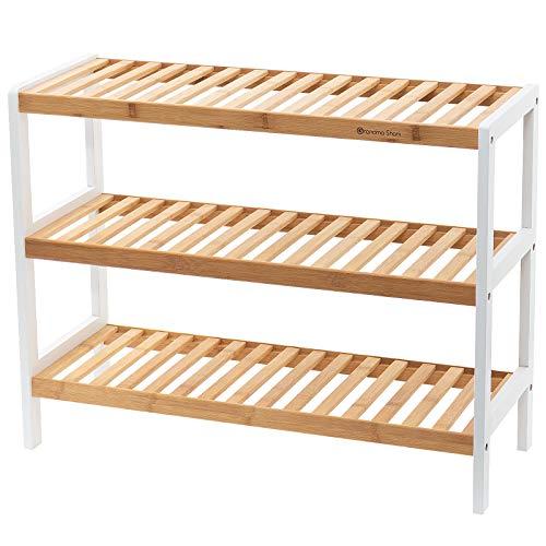 Grandma Shark Zapatero de bambú, Usar en la entrada de la casa, Racks de Zapatos también se puede utilizar como estante de almacenamiento (Naturaleza Blanco 3 Nivel)