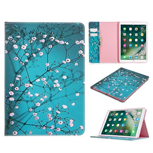 ZHIWEI Tablet PC Bag Pattern Flip Protection PU Leather Wallet Tablet Case For iPad Pro 10.5 2017/2019 Magnetic Ultra-thin Anti-drop Bracket Card Slot Case (Color : Plum blossom)