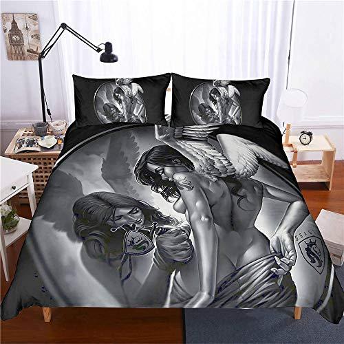 Juego de Funda Nórdica Gothic Skull 260 x 240 cm Skeleton Bones Juego de Cama Juego de Colchas 3 Piezas Sexy Belleza Tatuaje Marilyn Monroe Microfibra Funda Nórdica Halloween para Adulto