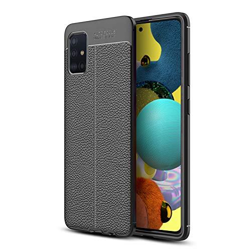 Olixar - Funda de piel para Samsung Galaxy A51 5G (compatible con carga inalámbrica), color negro