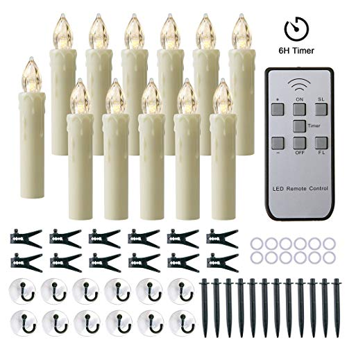 MIXALY 12 PCS Flameless Window Candles - Ivory Battery Operated LED Taper Candles with Remote Updated Timer Function - Christmas Candles Warm White - Perfect for Wedding/Birthday/PartyDecoration