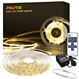 White LED Strip Lights COB,UL-Listed 16.4ft 4000K Ultra Bright Flexible LED Tape Lights,High-end Dimmable Lights with RF Remote Controller and 12V/3A Power Supply for Home, Bedroom, Kitchen Decoration