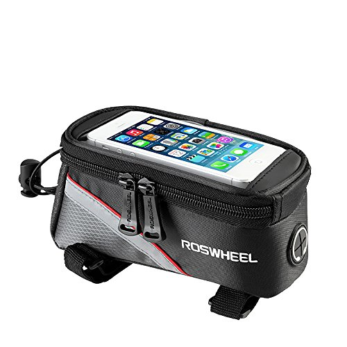 Roswheel Bicycle Mobile Phone Pouch, 5.5 inch Touch Screen Top Frame Tube Storage Bag Cycling MTB Road Bike Basket Bicycle Accessories Phone Case 12496 (for 5.5inch Phone) - Red
