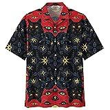 Black Cat Hawaiian Shirts for Men - Evil Cat Button Down Mens Hawaiian Shirts...