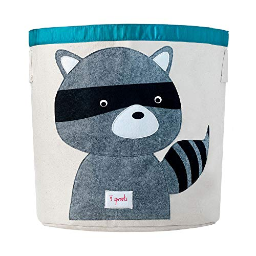 3 Sprouts Canvas Storage Bin - Laundry and Toy Basket for Baby and Kids, Raccoon
