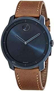 Movado Bold Ink Blue Dial Cognac Leather Mens Watch 3600470