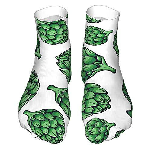 Fresco Alcachofa vegetal orgánico patrón impreso casual divertidos calcetines para hombres y mujeres, lindo patrón de novedad calcetines