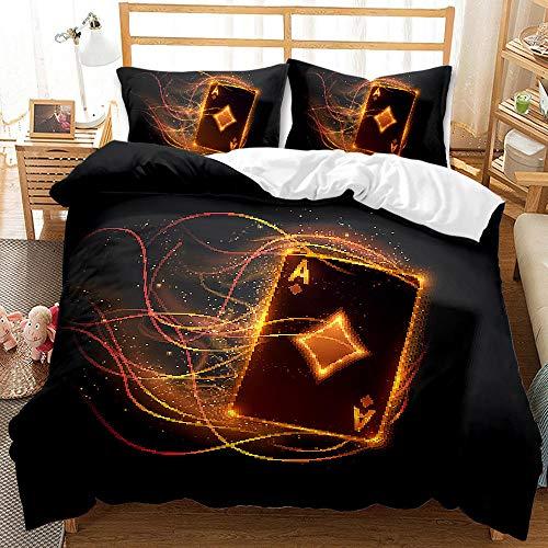 Bedclothes-Blanket Funda nórdica 3D 220x240,Ropa de Cama de impresión 3D de Tres Piezas lijada, Tarjeta Fresca de Moda, Ciruela de melocotón Rojo, Negro-3_180 * 220cm