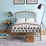 Giantex Metal Bed Frame Vintage Victorian Style, Heavy Duty Platform Bed with Headboard and Footboard, Sturdy Slats, Mattress Foundation No Box Spring Needed, Country Metal Bed (Antique Brown, Twin)