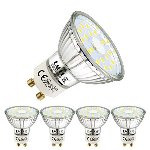 EACLL GU10 LED 5W 6000K Kaltweiss Leuchtmittel 495 Lumen Birnen kann Ersetzen 50W Halogen. AC 230V Kein Strobe Strahler, Abstrahlwinkel 120 ° Reflektor Lampen, Kaltweiß Licht Spotleuchten, 4 Pack