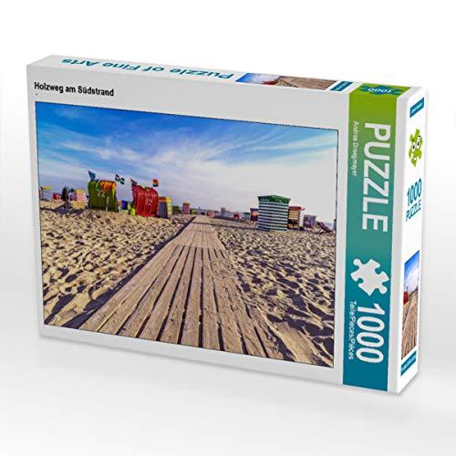 CALVENDO Puzzle Holzweg am Südstrand 1000 Teile Lege-Größe 64 x 48 cm Foto-Puzzle Bild von Andrea Dreegmeyer