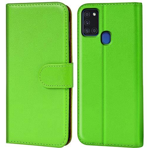 CoolGadget Klapphülle kompatibel mit Samsung Galaxy A21s Tasche, 360 Grad R&umschutz Robustes Etui aus Kunstleder, Galaxy A21s Schutz Hülle - Grün