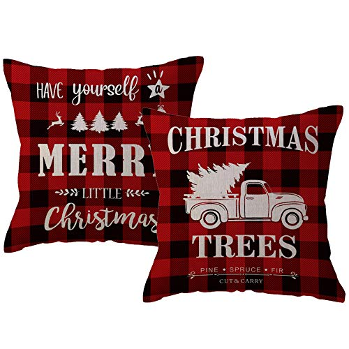 Christmas Decor Red Plaid Throw Pillow Covers Farmhouse Buffalo Check Cushion Case Have Yourself Merry Little Christmas Holiday Home Decorative Pillowcases 18 x 18 Inches,Set of 2