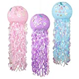 🎊【What can you get? 】You can have three mermaid lanterns in different colors, blue, purple and pink. Each lantern has a diameter of 12 inches, an unfolded length of 36 inches, 3 wire ropes, mermaid tail, shells sticker. It is very suitable for ocean ...