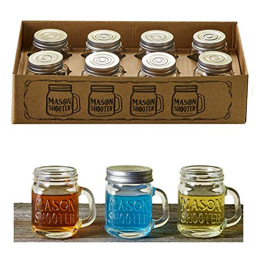 Hayley Cherie - Mason Jar Shot Glasses with Leak Proof Lids (Set of 8) - Mini Mason Shooter Glass with Handles - 2 Ounces - For Drinks, Favors, Desserts, Parties, Gifts