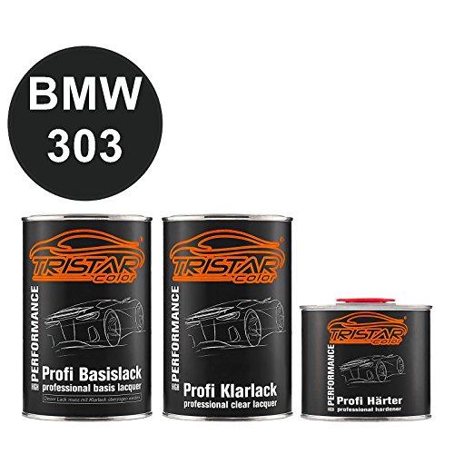 TRISTARcolor Autolack Set Dose spritzfertig für BMW 303 Cosmosschwarz Metallic Basislack + 2K Klarlack 2,5L