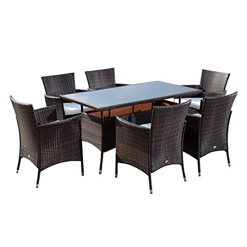 Outsunny Rattan Garden Furniture Dining Set 6-seater Patio Rectangular Table Cube Chairs Outdoor Fire Retardant Sponge Brown