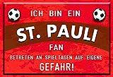 Mediarte Buddel-Bini Versand - Cartel decorativo (metal), diseño con texto en alemán 'Ich bin ein St. Pauli'