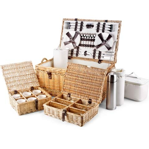 Luxury Fitted Picnic Hamper Basket, 6 Person (24')