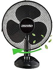 Tafelventilator, diameter 23 cm, 25 watt, rotatie inschakelbaar, oscillerend, stille werking, windmachine, luchtkoeler, geschikt voor kantoor, slaapkamer, woonkamer